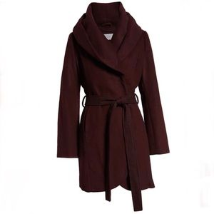 T Tahari wool blend belted wrap coat in Merlot